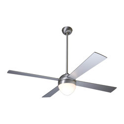 "Modern Fan Company - Modern Fan Company Ball Brushed Aluminum 42"" Ceiling Fan with CFL Light - 15"" Height with Shortest Downrod"