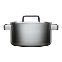"""Iittala - Iittala Tools Casserole Pan 3 qt. - by B. Dahlstrom - A good meal doubles in size when shared, and Bjorn Dahlstrom has thoughtfully created TOOLS for the modern lover of design - and dining. Simply perfect in functionality, and perfectly simple in appearance, Tools should be taken straight from the kitchen to the table. Larger than life dining tools for larger than life people. A high degree of technological knowledge has been applied to keep the food evenly warm; each piece is made from the material most appropiate for its function and conducting heat. In addition, Tools are oversized in all dimensions, heavy yet easy to handle, for entertaining or everyday use. Beautiful contemporary design that embodies hospitality in its physical form.ComPouchesnd multi-layer technology for better conductivity Brushed stainless steel 18/10, Aluminum and stainless steel 18/10 Suitable for gas, induction, glass-ceramic and electric range Diswasher safe Dimensions: Bottom: 7.48"""" x Top: 8.66"""" x 3.5"""" H x 8.5"""" Diameter"""