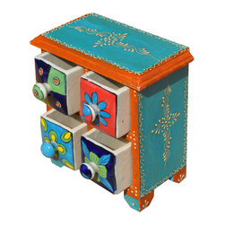 Sierra Living Concepts - Hand Painted Ceramic & Mango Wood 4 Drawer Jewelry Box - Hand Painted Ceramic & Mango Wood Pillbox Spice Treasure 4 Jewelry Box