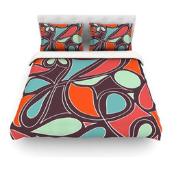 """Kess InHouse - Miranda Mol """"Retro Swirl"""" Cotton Duvet Cover (Queen, 88"""" x 88"""") - Rest in comfort among this artistically inclined cotton blend duvet cover. This duvet cover is as light as a feather! You will be sure to be the envy of all of your guests with this aesthetically pleasing duvet. We highly recommend washing this as many times as you like as this material will not fade or lose comfort. Cotton blended, this duvet cover is not only beautiful and artistic but can be used year round with a duvet insert! Add our cotton shams to make your bed complete and looking stylish and artistic! Pillowcases not included."""