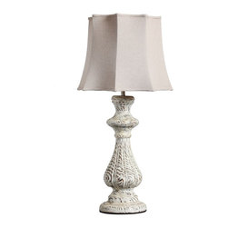 White Painting Finish Wooden Candle Table Lamp - Handcrafted from sustainable wood, this naturally-finished table lamp is carved in a graceful shape.