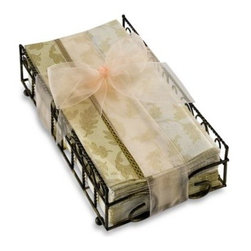 """Boston International, Inc. - Foliole Cream Guest Towels with Caddy - This decorative caddy with two packages of guest towels makes a great hostess gift. Three-ply folded tissues measure 4 1/4"""" W x 8 1/4"""" H."""