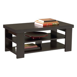 Ameriwood - Ameriwood Hollow Core Coffee Table in Black Forest Finish - Ameriwood - Coffee Tables - 5187012YCOM - This Black Forest Coffee Table has a stylish contemporary design to compliment any decor in the home it has a maximum capacity of 100 lbs. on the top shelf 100 lbs. on the middle shelf and 50 lbs. on each side of the bottom shelf. It's easy to assemble with household tools.