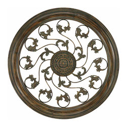 Paragon Decor - Aged Round Vine Medallion - A rusted rosette medallion anchors twirling vines in an embossed surround.