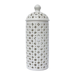 """14"""" White Pierced Jar - These vases look great when used on a table with a candle that glows through the open cutwork. Tier with other sizes for a more interesting display. Use indoors or out."""