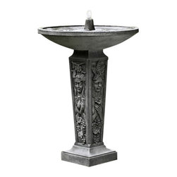 Campania - Seasons Garden Water Fountain, Terra Nera - The elegant and stylish Seasons Fountain will create a beautiful addition to your garden setting. The base of this birdbath fountain features four sides, with each on being dedicated to one of the four seasons. The trickling water of this beautiful fountain is sure to bring happiness and tranquility.