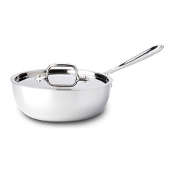 All-Clad - All-Clad Tri-Ply Stainless Steel 2 qt. Saucier w/Lid (4212) - More shallow than a classic sauce pan, the saucier is designed for foods requiring frequent stirring or whisking, including creamy sauces, risotto, polenta and custards. The pan's wider mouth allows for sauce reduction, while its curved sides allow for easy incorporation of ingredients. Lifetime warranty from All-Clad with normal use and proper care. Made in the USA!