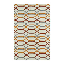 Kaleen - Kaleen Glam GLA01 01 Ivory Area Rug - 5 ft x 8 ft - The Glam collection puts the fab in fabulous! No matter if your decorating style is simplistic casual living or Hollywood chic, this collection has something for everyone! New and innovative techniques for a flatweave rug, this collection features beautiful ombre colorations and trendy geometric prints. Each rug is handmade in India of 100% wool and is 100% reversible for years of enjoyment and durability.