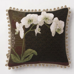Corona Decor - Orchid Stem Black Pillow - -80% cotton, 20% wool.  -Made in france.  -Finished with hand tied fringe in the USA.  -Zippered with poly inserts.   -Dry clean only.   Corona Decor - PF8555N/L