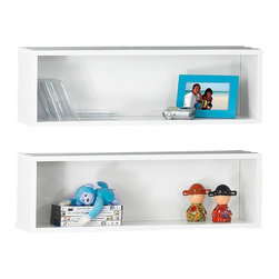Nexera - Nexera BLVD Rectangular Wall Shelves, Set of 2 - BLVD Rectangular Wall Shelves will add the final touch to your room setting and complete it with additional decorative storage. Sold in pair (2 units), organize your BLVD wall shelves in any way you like to create your own personalized home decor. BLVD Collection from Nexera proposes modular and flexible combinations for your entertainment room, home office area and bedroom. On top of all its smart features, the whole collection also features quality melamine and textured lacquer surfaces, solid metal or full extension slides and adjustable levelers.