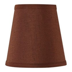 """Lamps Plus - Arts and Crafts - Mission Redwood Brown Hardback Lamp Shade 4x6x6 (Clip-On) - This beautiful lamp shade features a polished brass clip-on fitter. The warm brown color will complement a variety of decor. The correct size harp is included free with this shade. Brown lamp shade. Hardback shade style. Cotton blend fabric. Self trim on top and bottom. Polished brass clip-on fitter. Nutmeg brown polyester lining. 4"""" across the top. 6"""" across the bottom. 6"""" on the slant. 6"""" high.  Brown lamp shade.  Hardback shade style.  Cotton blend fabric.  Self trim on top and bottom.  Polished brass clip-on fitter.  Nutmeg brown polyester lining.  4"""" across the top.  6"""" across the bottom.  6"""" on the slant.  6"""" high."""