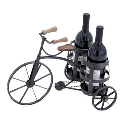 ecWorld - Urban Designs Antique Style Black Metal Tricycle Wine Bottle Holder - Showcase your favorite wine in style with the unique design of this antique style tricycle wine bottle holder. A great decorative piece that adds new warmth to any entertaining area.