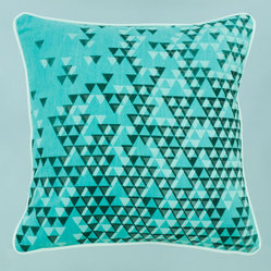 Turquoise Aztec Triangles Pillow Cover by Nell & Mary
