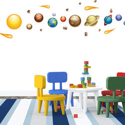 Walls Need Love - Solar System Nursery Wall Decals - Our Solar System Wall Decals will put stars in your kid's eyes. The Solar System wall decals will have your kids gazing at their walls like a little Neil Armstrong. Who knows, they may even realize they want to become an astronaut too. And at the very least, the Solar System wall decals will help them learn their planets. These removable and reuseable decals are perfect for any room and almost any age. Moms, you may want to buy an extra pack for Dad's office so he doesn't feel left out. Peel, Stick, and Restick these self-adhesive wall decals to decorate your walls and any other flat surface.