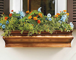 Lena Copper Window Box - This copper window box is beautiful and stylish for any type of house. Window boxes add instant charm.