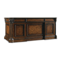 Hooker - Hooker European Renaissance II Executive Desk 73 374-10-562 - Work smarter and live better with this functional 73 inch executive desk from the European Renaissance II Furniture Collection. The modern-contemporary styling gives sophistication, the drawers also stores office materials keeping the office more organized. Made of hardwood solids with myrtle burl, clear maple, walnut and cherry veneers and in dark, rich brown finish with some physical distressing.