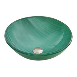 "VIGO - VIGO Whispering Wind Glass Vessel Bathroom Sink - ""The VIGO Whispering Wind is a breath of fresh air in your new bathroom.  The greenish blue hue and whisps of white will be a lovely addition to your bathroom."