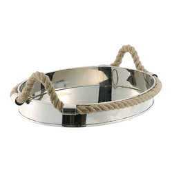Kathy Kuo Home - Nautical Rope Polished Silver Modern Serving Tray - Navigate your way through entertaining with this polished silver serving tray rimmed in nautical jute rope. Ideal for summer or, once that ship has sailed, to evoke warm memories during first frost.