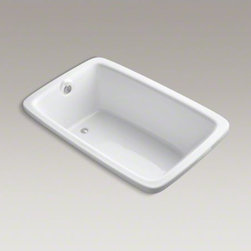 """KOHLER - KOHLER Bancroft(R) 66"""" x 42"""" drop-in bath with Bask(TM) heated surface and rever - Settle into a relaxing soak in classic style. Part of the Bancroft collection, this bath draws its design inspiration from the simple elegance of early 1900s American architecture. The heated surface warms the back and neck with adjustable temperature settings to create a soothing, spa-like environment. An integrated tile flange helps protect against water damage."""