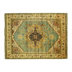 Manhattan Rugs - New Veg Dyed Blue & Ivory Heriz Serapi 9x12 Hand Knotted Oriental Wool Rug H3538 - Heriz is situated in the northwestern part of Iran (Persia).  Though the term covers Hand knotted rugs of numerous small villages in the area, the most beautiful Rugs were woven in Heriz itself For the last 100 years, the Heriz carpet designs have basically remained the same, with only small variations in color pallets and density of the design. The late 19th Century Rug (so called Serapis) was of fewer details and softer colors and with time designs became denser with added jewel tone color pallets. The revival of the carpet industry in the late 19th Century was based on the demand of the Western markets, with America in particular.  Weavers in Heriz hand knotted were asked to make carpets inspired by the Fereghan Sarouks of higher cost for consumers of more limited budgets. Even though Sarouk carpets changed style later on, Heriz weavers stayed with the geometric pattern till now.  However, Heriz was also a center of production of some of the best handmade carpets with both geometric and curvilinear floral patterns.  A special heirloom wash produces the subtle color variations that give rugs their distinctive antique look.