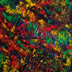 Raining Jewels - Raining jewels of color... All these colors have movement and seem to dance across the canvas. I use a palette knife and acrylic paint to capture this little jewel.