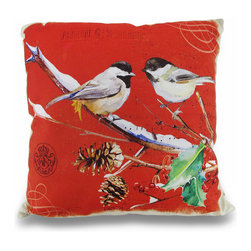 Zeckos - Winter Finches Holly Leaf 16 Inch Decorative Throw Pillow - This decorative throw pillow adds a charming accent to your room and your home whether it's in the bedroom, living room or on a sheltered porch. Made from 100% polyester with a 100% polyester insert, this beige and red pillow features a linen look backing and a green postcard print front with a pair of finches in winter, perched on a branch. Great for Fall or Winter decor with a print of holly, berries and pine cones, this 16 inch long by 16 inch wide (41 X 41 cm) pillow looks great on chairs, sofas or tossed on the bed. It's recommended to spot clean only, and the cover easily removes using the zipper on the bottom. It adds a beautiful natural accent that would look just as great tucked under your arm while reading a book in your favorite chair as it would adding that special touch to a guest room. Wherever you choose to display it, it's certain to be admired, and would make a wonderful housewarming, wedding or shower gift!