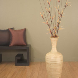 None - Natural Bamboo 25-inch Floral-optional Floor Vase - This 25-inch natural bamboo floor vase will make any room sophisticated and classy. The bamboo construction boasts a lovely natural appearance. The dried floral arrangement accentuates any space. This vase beautifully displays dried limbs and flowers.