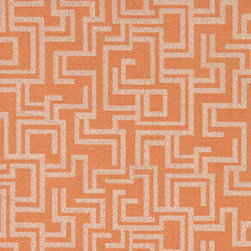Orange Geometric Outdoor Indoor Marine Upholstery Fabric By The Yard - This material is an upholstery grade outdoor and indoor fabric. It is stain, water, mildew, bacteria and fading resistant. It is also Scotchgarded for further stain resistance and durability. This material is woven for superior appearance.