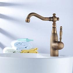 Antique Faucets - Centerset Antique Brass Kitchen Faucet--FaucetSuperDeal.com