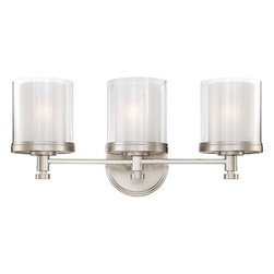 """Nuvo Lighting - Nuvo Lighting 60/4643 Decker Three Light Bathroom Fixture - Nuvo Lighting 60/4643 Decker Three Light Bathroom Fixture with Clear and Frosted Glass, in Brushed Nickel FinishThe Decker collection is a well thought -out assembly of finely crafted """"machined"""" style parts. Decker's double glass shade design creates a unique glow which adds depth and mood to this family. Decker's industrial style is perfectly suited to work well with many design elements used today. Available in Sudbury Bronze with Clear and Cream glass shades or Brushed Nickel with Clear and Frosted glass shades.Nuvo Lighting 60/4643 Features:"""