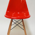 Mason Glass + Co. - Eames Style Fiberglass DSW Side Chair, Red - The Mason Glass + Co.™ Eames Style Molded Fiberglass DSW Side Chair is a faithful reproduction of the original Eames style Molded Fiberglass Chair from the 1950s. A simple, gracious form that fits any body and every place, this chair is an ideal dining chair or office chair option for both formal and informal spaces alike. Quite possibly the most popular of the mid-century modern chair designs, our fiberglass finish has the same covetable surface variation and tell-tale fiberglass striation that have attracted avid vintage collectors for decades. Unlike the flimsy plastic versions of this chair, our molded fiberglass chair is extremely sturdy and will withstand many years of use. Available in four classic colors with wooden dowels constructed of sturdy oak.