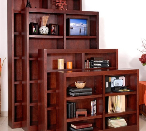 Concepts in Wood - Concepts in Wood Double Wide Wood Veneer Bookcase - MI4836-C - Shop for Bookcases from Hayneedle.com! Revel in the solidity and simplicity of the Concepts in Wood Double Wide Wood Veneer Bookcase a genuine maple veneer bookcase that adroitly balances your dual needs for beauty and practicality. Maple wood veneer warms up any room with a seven-stage eco-friendly finish in your choice of color that doesn't off-gas harmful compounds preserving the quality of your indoor air. Furniture-grade engineered wood elements are fastened with dowel and European cam-lock construction. Rather than flimsy laminated particle board you'll find solid plywood reinforcing the back. The double-wide design with 10.5-inch-deep shelves provides ample space to store and display the collections that make your house your home. Available in a variety of heights this bookcase comes with six eight 10 or 12 shelves. The bottom shelves are fixed; all others are adjustable. Assembly is required. Size options: 36-Inch Bookcase 6 shelves (4 adjustable) Dimensions: 48W x 10.63D x 36H in. 48-Inch Bookcase 8 shelves (6 adjustable) Dimensions: 48W x 10.63D x 48H in. 72-Inch Bookcase 10 shelves (8 adjustable) Dimensions: 48W x 10.63D x 72H in. 84-Inch Bookcase 12 shelves (10 adjustable) Dimensions: 48W x 10.63D x 84H in. About Concepts in WoodConcepts in Wood is a family-owned business that has been operating in the Huntington Washington area for over 20 years. They specialize in the design and manufacture of durable home furnishings in oak pine alder and maple. Their furniture products are manufactured to exacting design specifications to create pieces of reliable functionality and lasting beauty.