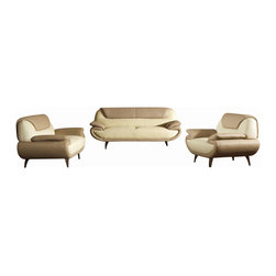 VIG Furniture - 2812 Two-Toned Beige Bonded Leather Three Piece Sofa Set - The 2812 sofa set will add a modern touch to any decor while having you relax in comfort. This sofa set comes upholstered in a beautiful two-tone dark beige and light beige bonded leather in the front where your body touches. Carefully chosen match material is used on the back and sides where contact is minimal. Skillfully chosen match material is used on the back and sides where contact is minimal. High density foam is placed within the cushions for added comfort. Attached to the bottom of each piece are stainless steel legs with a polished finish. The sofa set includes one sofa, loveseat, and chair only.