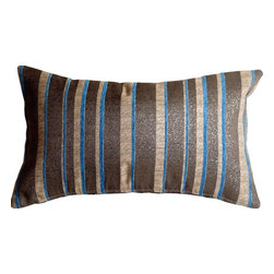 Pillow Decor Ltd. - Pillow Decor - Glitter Stripes 12 x 20 Blue and Gray Throw Pillow - This rectangular throw pillow features vertical comb pattern stripes in beige, bordered by soft, blue chenille stripes and wider dark charcoal gray stripes. Glittering metallic silver threads are woven throughout, giving this decorative pillow subtle sparkle and flare.
