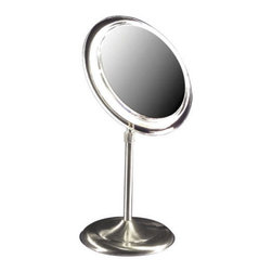 Lighted Adjustable Pedestal Vanity Mirror - This lighted vanity mirror is a welcoming addition to any bathroom with its functional and versatile design.