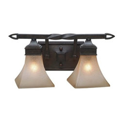 Golden Lighting - Golden Lighting 1850-BA2 Wrought Iron Two Light Bathroom Fixture from the Genesi - *Requires 2 60w Medium Bulbs (not included)Features 2 Evolution Glass Shades and a Roan Timber Finish