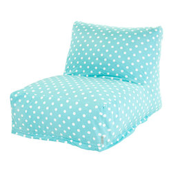Majestic Home - Indoor Aquamarine Small Polka Dot Bean Bag Chair Lounger - Here's a great spot to lounge — perfect for your favorite casual setting. This update on the beanbag is ultracomfy and super stylish. Plus, you've got to love the easy care: Just zip off the cotton twill slipcover and machine wash.