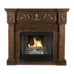 """Holly & Martin - Holly & Martin Huntington Gel Fireplace, Espresso, 44.5""""w X 14.5""""d X 40.25""""h - An elegant floral design across the top of this rich espresso fireplace draws attention. Fluted columns on either side of the firebox provide a unique element of design to the mantel and an understated molding finishes off this mantel with a classic touch. Requiring no electrician or contractor for installation allows instant remodeling without the usual mess or expense. In addition to your living room or bedroom, try moving this fireplace to your dining room for a romantic dinner or complement your media room with a ventless fireplace below your flat screen television. Use this great functional fireplace to make your home a more welcoming environment."""