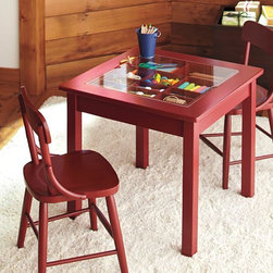 Carolina Collectors Table - Even the playroom can have a touch of red. Kids can show off their collections (rocks, pencils, etc.) and gain a spot to create. I wish I'd had this when I was little!