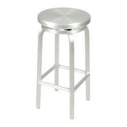 Euro Style - Miller-B Bar Swivel Stool - Solid aluminum seat and frame. Indoor/outdoor. Seat swivels. Welded frame. Adjustable feet. Seat height: 30 in.. 14.96 in. Dia. x 29.92 in. H (15.4 lbs.)Grand ideas for small spaces, the smooth and clean geometric shapes give your rooms a trendy, up-to-date look. The furniture design make your rooms stylish and sophisticated, symbolizing your self confidence.