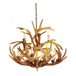 ParrotUncle - 12 Lights Rustic Resin Antler Dining Room Chandelier - 12 Lights Rustic Resin Antler Dining Room Chandelier