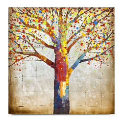 """Vertuu Design - 'Vivid' Artwork - Bring a pop of vibrant color to your home with the """"Vivid"""" Artwork. Set against a subtle checkered background, this hand-painted canvas art features a bare tree decorated with rainbow-colored spatters. Silver leaf accents add texture and shine to the piece. Display it among neutral design pieces for a dramatic contrast."""