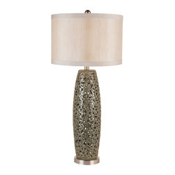 Trans Globe - Trans Globe Silver Rattan Table Lamp Oval - Trans Globe Silver Rattan Table Lamp Oval