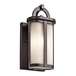 "Kichler - Arts and Crafts - Mission Kichler Rivera 10 1/4"" High Bronze Outdoor Wall Light - The soft modern look of this small architectural bronze finish and satin etched cased opal glass outdoor wall light is a great addition to porches or other exterior walls. The tall vertical design features a decorative arch at the top of the metal frame with the glass surrounding a single bulb inside. A beautiful home exterior accent from Kichler lighting. Small contemporary outdoor halogen wall light. Architectural bronze finish. Metal frame and wall plate. Satin etched cased opal glass. Takes one maximum 50 watt A19 bulb or equivalent (not included). UL-rated for wet locations. 10 1/4"" high. 5"" wide. Extends 4 3/4"". Back plate is 4 1/2"" wide and 7 3/4"" high.   Small contemporary outdoor halogen wall light.  Architectural bronze finish.  Metal frame and wall plate.  Satin etched cased opal glass.  Includes 50 watt halogen bulb.  UL-rated for wet locations.  10 1/4"" high.  5"" wide.  Extends 4 3/4"".  Back plate is 4 1/2"" wide and 7 3/4"" high."