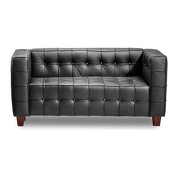 ZUO MODERN - Button Loveseat Black - With sophisticated ribbing and button pattern, the appropriately named Button series has all leather seating surfaces with leatherette back and sides and solid wood legs.