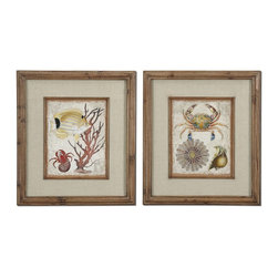Tropical Beach Sea Life Wall Art Set of 2 - *The frames feature a unique, reclaimed wood look with medium brown undertones, dark brown wash and a light taupe glaze. Prints are accented by textured, beige linen mats and are under glass.