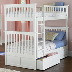Atlantic Furniture - Columbia Twin Over Twin Bunk Bed w Raised Pan - NOTE: ivgStores DOES NOT offer assembly on loft beds or bunk beds. Includes upper and lower panels, rails, clip-on ladder, 2 slats and raised panel drawers. Mattress not included. Solid hardwood Mortise & Tenon construction. 26-Steel reinforcement points. Made of premium, eco-friendly hardwood with a 5-step finishing process. Designed for durability. Guard rails match panel design. Meet or exceed all ASTM bunk bed standards, which require the upper bunk to support 400 lbs.. Pictured in White finish. 1-Year manufacturer's warranty. Clearance from floor without trundle or storage drawers: 11.25 in.. 74 in. L x 22 in. W x 12 in. H. Raised panel drawers: 74 in. L x 24.38 in. W x 12 in. H. Overall: 80.5 in. L x 44.25 in. W x 68.1 in. H. Bunk Bed Warning. Please read before purchaseThe Columbia bunk bed features a classic Mission style design with subtle curves and solid post construction.