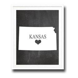 Kshoo Design - Kansas State Print, Frame Not Included, 13x19 - -Faux chalkboard background