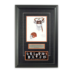 "Heritage Sports Art - Original art of the NFL 1997 Cincinnati Bengals uniform - This beautifully framed piece features an original piece of watercolor artwork glass-framed in an attractive two inch wide black resin frame with a double mat. The outer dimensions of the framed piece are approximately 17"" wide x 24.5"" high, although the exact size will vary according to the size of the original piece of art. At the core of the framed piece is the actual piece of original artwork as painted by the artist on textured 100% rag, water-marked watercolor paper. In many cases the original artwork has handwritten notes in pencil from the artist. Simply put, this is beautiful, one-of-a-kind artwork. The outer mat is a rich textured black acid-free mat with a decorative inset white v-groove, while the inner mat is a complimentary colored acid-free mat reflecting one of the team's primary colors. The image of this framed piece shows the mat color that we use (Orange). Beneath the artwork is a silver plate with black text describing the original artwork. The text for this piece will read: This original, one-of-a-kind watercolor painting of the 1997 Cincinnati Bengals uniform is the original artwork that was used in the creation of this Cincinnati Bengals uniform evolution print and tens of thousands of other Cincinnati Bengals products that have been sold across North America. This original piece of art was painted by artist Bill Band for Maple Leaf Productions Ltd. Beneath the silver plate is a 3"" x 9"" reproduction of a well known, best-selling print that celebrates the history of the team. The print beautifully illustrates the chronological evolution of the team's uniform and shows you how the original art was used in the creation of this print. If you look closely, you will see that the print features the actual artwork being offered for sale. The piece is framed with an extremely high quality framing glass. We have used this glass style for many years with excellent results. We package every piece very carefully in a double layer of bubble wrap and a rigid double-wall cardboard package to avoid breakage at any point during the shipping process, but if damage does occur, we will gladly repair, replace or refund. Please note that all of our products come with a 90 day 100% satisfaction guarantee. Each framed piece also comes with a two page letter signed by Scott Sillcox describing the history behind the art. If there was an extra-special story about your piece of art, that story will be included in the letter. When you receive your framed piece, you should find the letter lightly attached to the front of the framed piece. If you have any questions, at any time, about the actual artwork or about any of the artist's handwritten notes on the artwork, I would love to tell you about them. After placing your order, please click the ""Contact Seller"" button to message me and I will tell you everything I can about your original piece of art. The artists and I spent well over ten years of our lives creating these pieces of original artwork, and in many cases there are stories I can tell you about your actual piece of artwork that might add an extra element of interest in your one-of-a-kind purchase."