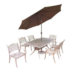 Oakland Living - 9-Pc Patio Dining Set - Includes boat shaped table and six dining arm chairs, 9 ft. tilt and crank umbrella and base. Fade, chip and crack resistant. Traditional lattice pattern and scroll work. Metal hardware. Warranty: One year. Made from rust-free cast aluminum. Antique bronze hardened powder coat finish. Minimal assembly required. Table: 70 in. L x 38 in. W x 29 in. H (75 lbs.). Chair: 22.5 in. W x 22 in. D x 35 in. H (24 lbs.)This 9 pc boat shaped table dining set is the prefect piece for any outdoor dinner setting. Just the right size for any backyard or patio. The Oakland elite collection combines southern style and modern designs giving you a rich addition to any outdoor setting. Each piece is hand cast and finished for the highest quality possible.